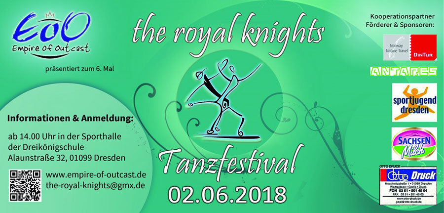 türkiser flyer des tanzfetval the royal knights 2018