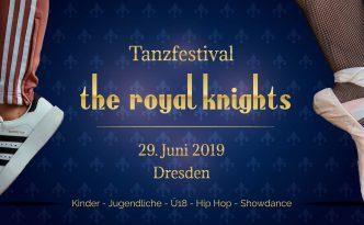 Flyer des diesjährigen Tanzfestivals the royal knights 2019, Voderseite, mit einem Ballettschuh und einem Hip-Hop-Schuh