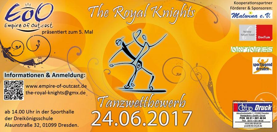 orangener Flyer Tanzwettbewerb the royal knights 2017