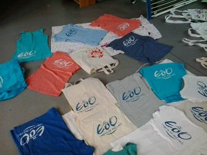 Siebdruck des Logos auf T-Shirts des Tanzverein Empire of Outcast