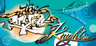 """türkiser Flyer vom Tanzfestival the royal knights 2018, Vorderseite mit Schriftzug des """"the royal knights""""-Logos"""