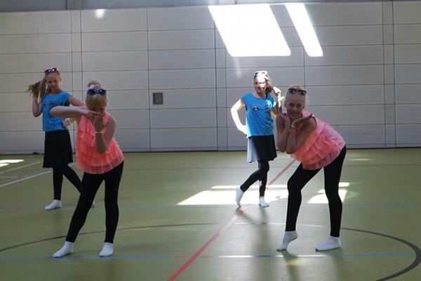 Tanzgruppe in blau und rosa, Tanzauftritt während des Tanzfestivals the royal knights 2018