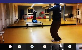 Screenshot eines virtuellenTanztrainings via Videotelefonie.
